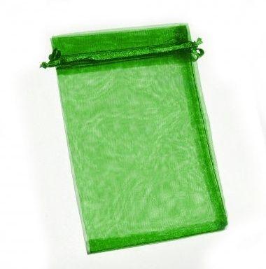 Organza tasak smaragdzöld 10 db/csomag 10 x 15 cm-es