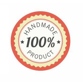 Körcímke 20 db/cs 100 handmade product piros széllel
