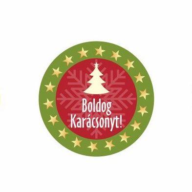 Karácsonyi körcímke 20 db/cs Boldog karácsonyt csillagos széllel