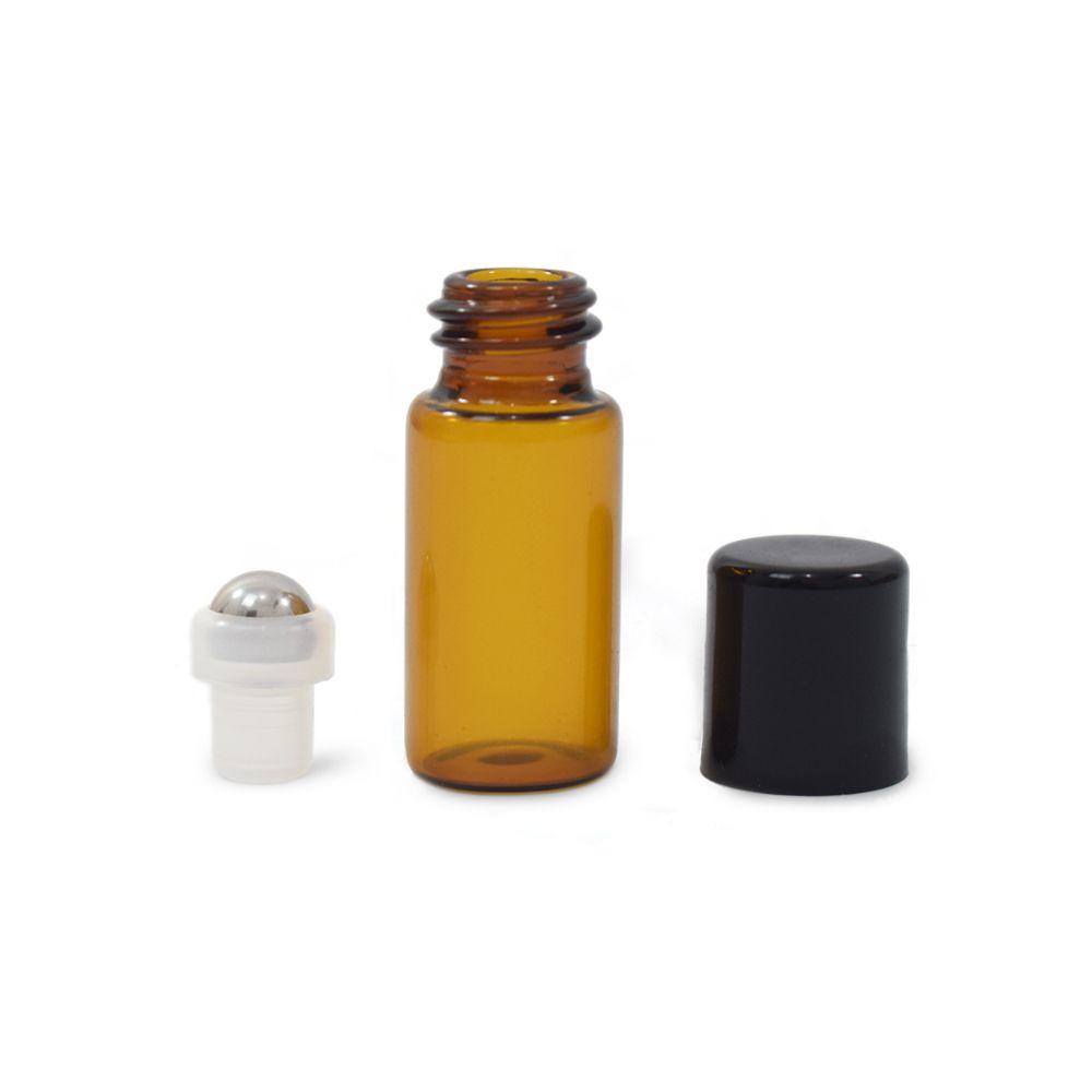 Mini golyós üveg 3 ml fekete kupakkal