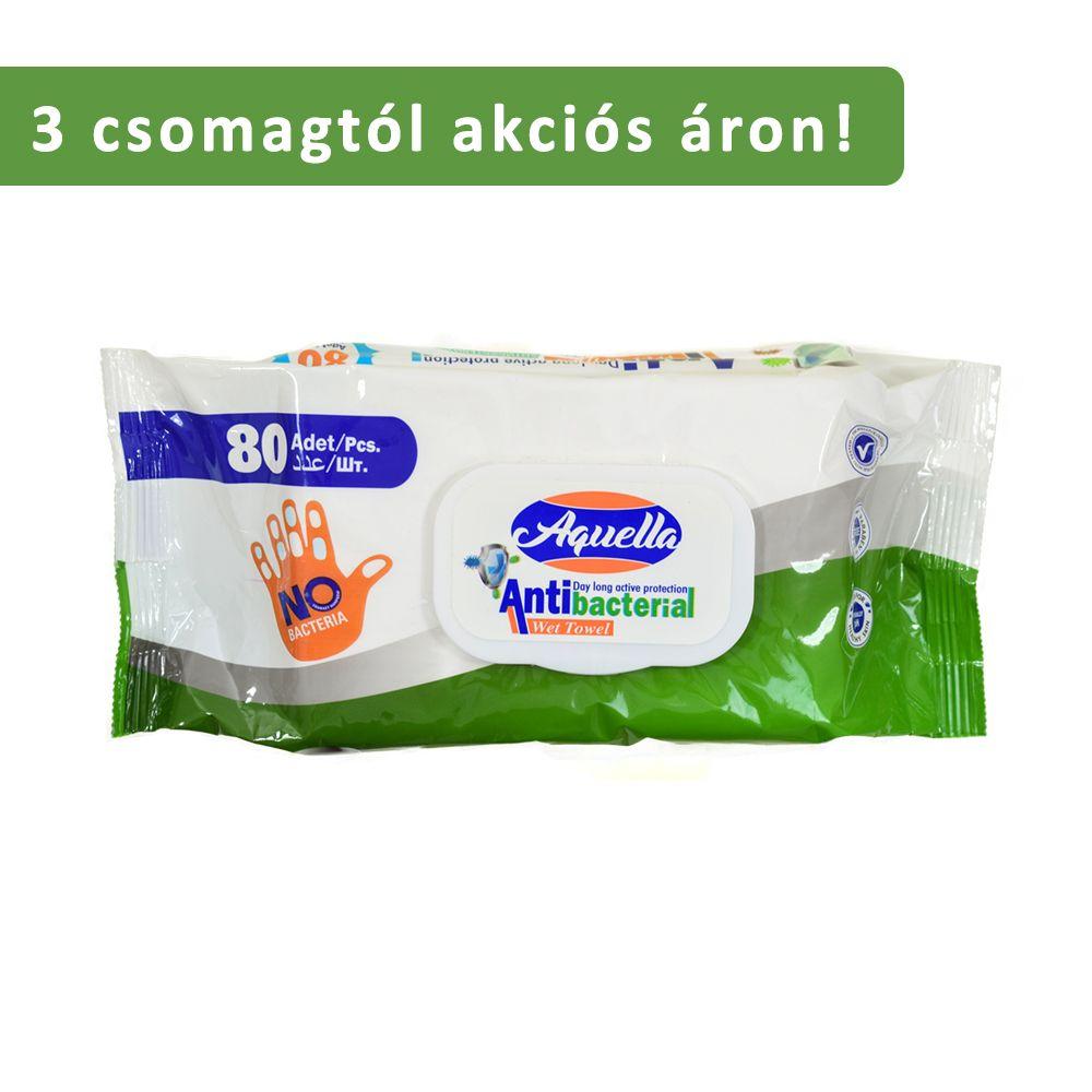 Aquella antibakteriális nedves törlőkendő 80db